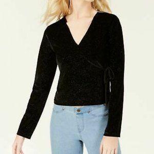 Self Esteem Size XS Black Tie-Side Glitter Top